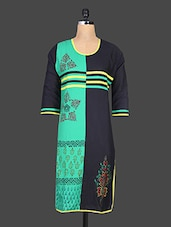 Round Neck Block Print Cotton Kurta - By
