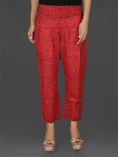 Red Cotton Printed Pant - Parinita