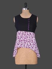 Purple Cotton Printed Top - Parinita