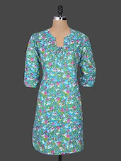 Blue Cotton Printed Dress With Trouser - Parinita