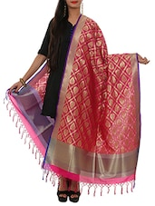 pink pure silk dupatta -  online shopping for Dupattas