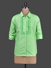 Lime Green Cotton Shirt With Lace Detail - RENA LOVE