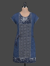 Dark Blue Denim Dress With Lace Detail - RENA LOVE