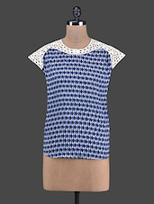 Cutwork Detailed Printed Blue Cotton Top - RENA LOVE