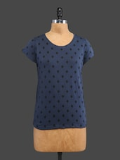 Blue Printed Cotton Top - By