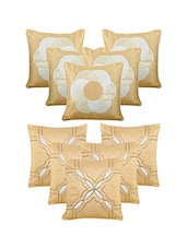 Set Of 10 Beige Emboridery  Cushion Cover - By