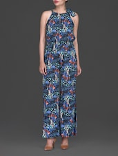 Blue Abstract Floral Printed Polycrepe Jumpsuit - By
