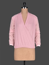 Baby Pink Overlap Neck Georgette Top - Ozel Studio