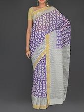 Purple Cotton Polka Printed Kerala  Saree - By
