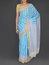 Blue Cotton Polka Printed Kerala  Saree - Parichay