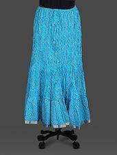 Blue Leheriya Print Cotton Long Skirt - Soundarya