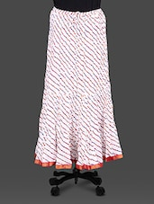 White Leheriya Print Cotton Long Skirt - By