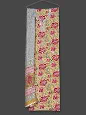 Floral Print With Gota Work On Neck Unstitched Suit Set - Geroo
