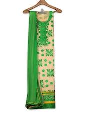 Green Cotton Unstitched Suit Set - Ewows