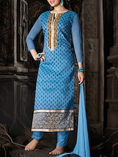 Blue Zari Embroidered Suit Set - Ewows