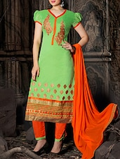 Green Cotton Embroidered Suit Set - Ewows