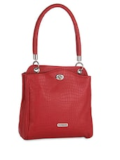 Red Textured Faux Leather Tote - Peperone