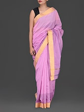 Pink Striped Tussar Cotton Saree - Purple Oyster