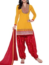 Yellow Chanderi Unstitched Patiala Suit Set - PARISHA