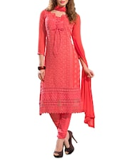 Lace Overlay Unstitched Cotton Suit Set - By