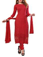Embroidered Red Unstitched Chiffon Suit Set - PARISHA