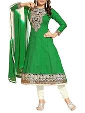 Green Embroidered Cotton Unstitched Anarkali Suit Set - PARISHA