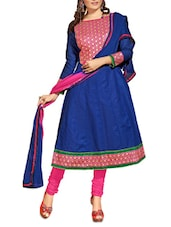Blue Embroidered Cotton Unstitched Anarkali Suit Set - PARISHA