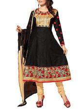 Black Embroidered Cotton Unstitched Anarkali Suit Set - PARISHA