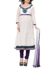 Embroidered White Cotton Unstitched Anarkali Suit Set - PARISHA