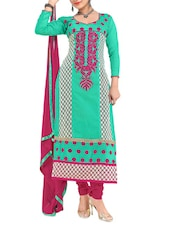 Green Embroidered Unstitched Chanderi Cotton Churidar Suit Set - PARISHA