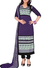 Purple Embroidered Unstitched Chanderi Cotton Churidar Suit Set - PARISHA