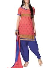 Pink Embroidered Jacquard Silk Chanderi Unstitched Patiala Suit Set - PARISHA