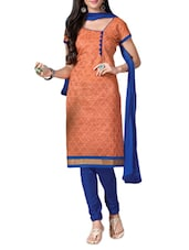 Orange Embroidered Jacquard Silk Chanderi Unstitched Patiala Suit Set - PARISHA