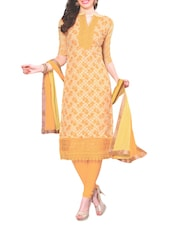 Yellow Embroidered Chiffon Unstitched Churidar Suit Set - PARISHA