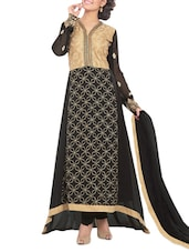 Black Embroidered Georgette Semi Stitched Gown - PARISHA