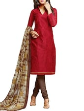 Red Embroidered Chanderi Unstitched Churidar Suit Set - PARISHA
