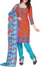Orange Printed Crepe Unstitched Churidar Suit Set - PARISHA