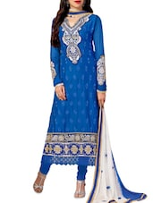 Blue Embroidered Stain And Cotton Straight Salwar Suit Suit Set - PARISHA