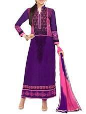 Purple Printed Georgette Straight Salwar Suit Suit Set - PARISHA