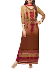 Beige Printed Georgette Straight Salwar Suit Suit Set - PARISHA