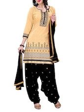 Beige Embroidered Cotton Unstitched Patiala Suit Set - PARISHA