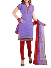 Purple Printed Cotton Unstitched Patiala Suit Set - PARISHA