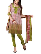 Multicolour Printed Cotton Unstitched Patiala Suit Set - PARISHA