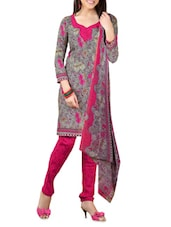 Grey Printed Cotton Unstitched Patiala Suit Set - PARISHA - 1162768