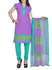 Purple Printed Cotton Unstitched Patiala Suit Set - PARISHA