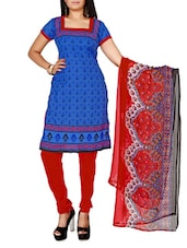 Blue Printed Cotton Unstitched Patiala Suit Set - PARISHA