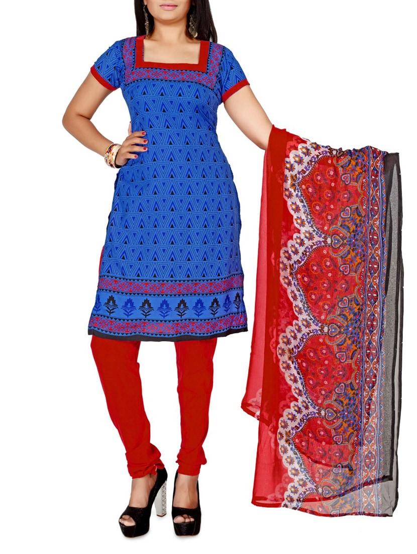 Blue Printed Cotton Unstitched Patiala Suit Set - PARISHA
