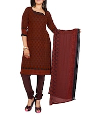 Brown Printed Cotton Unstitched Patiala Suit Set - PARISHA