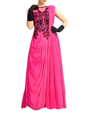Pink Embroidered Georgette Semi-stitched Gown - PARISHA
