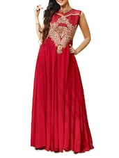 Red Embroidered Georgette Semi-stitched Gown - PARISHA